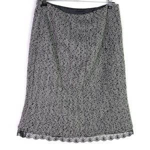 WHBM Wool Blend Pencil Skirt Lace Detail